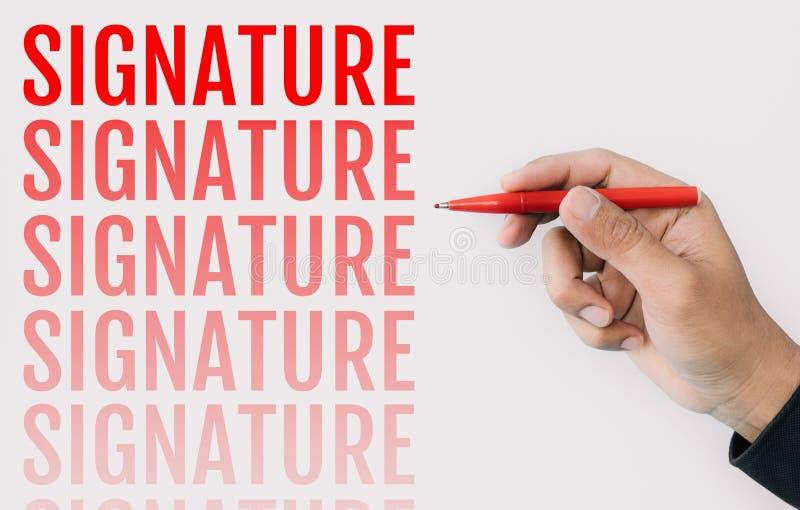Firma e concetti unici con testo e la mano maschio che tengono penna rossa su fondo bianco Successo di affari illustrazione vettoriale