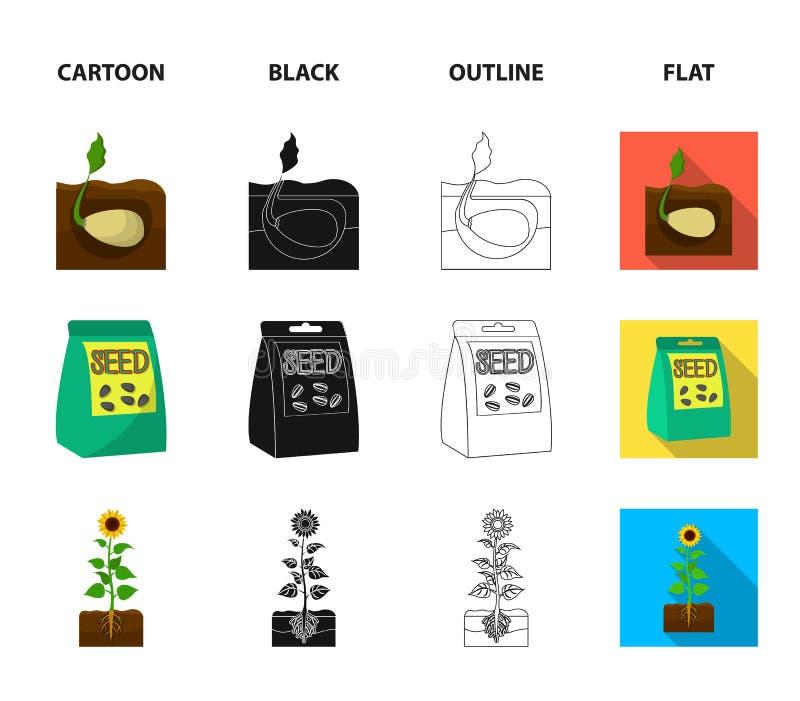 Firma, ekologia i inna sieci ikona w kreskówce, czerń, kontur, mieszkanie styl Plewy, grzywny, ogrodowe ikony w ustalonej kolekci ilustracja wektor