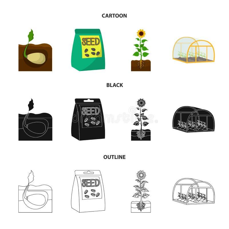 Firma, ekologia i inna sieci ikona w kreskówce, czerń, konturu styl Plewy, grzywny, ogrodowe ikony w ustalonej kolekci ilustracji
