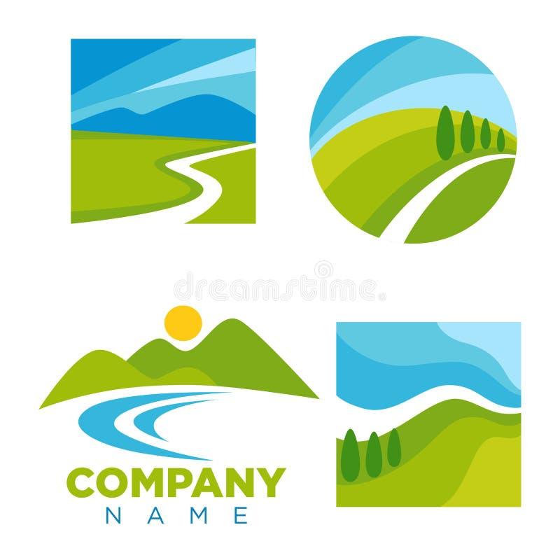 Firma logotyp z kreskówka krajobrazu ilustracjami ustawiać ilustracja wektor