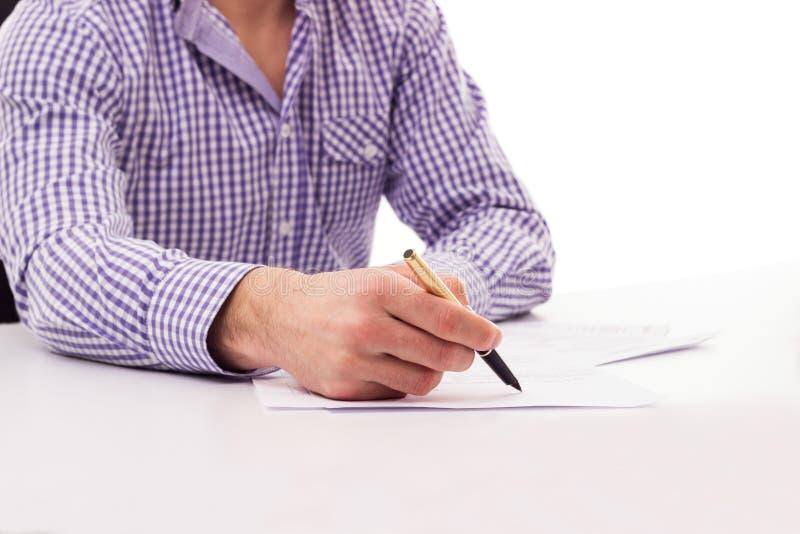 Firma masculina del documento fotografía de archivo