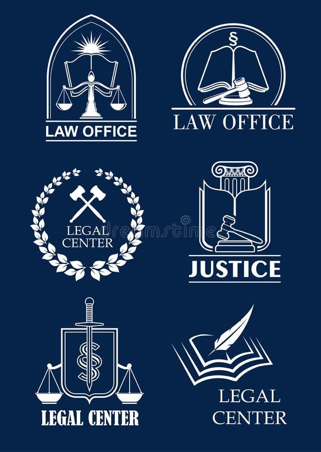 Firma prawnicza, prawnika biuro, legalny centrum symbolu set ilustracja wektor