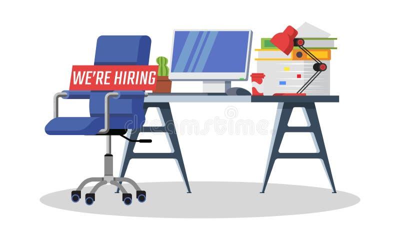Firma szuka pracownika, urzędnik, kierownik Bezpłatny wakat, zatrudniamy pojęcie ilustracja wektor