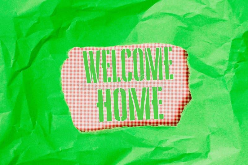 Firma testo che mostra la home page di benvenuto Espressione fotografica concettuale Saluto ai nuovi proprietari Domicile Doormat immagini stock