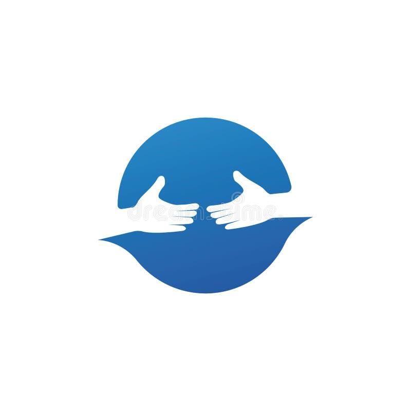 firma z ikoną wektora logo do logo ręcznej opieki ilustracja wektor