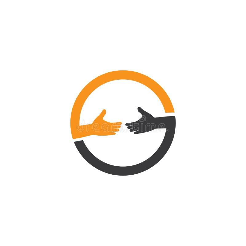 firma z ikoną wektora logo do logo ręcznej opieki ilustracji
