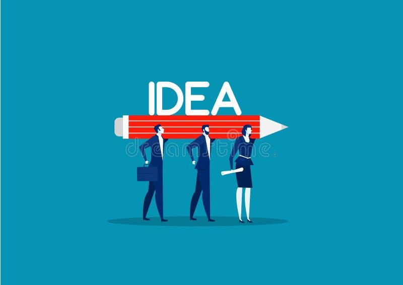 Firma zespołowa trzymająca duży ołówek z wektorem wyrazu IDEA ilustracji