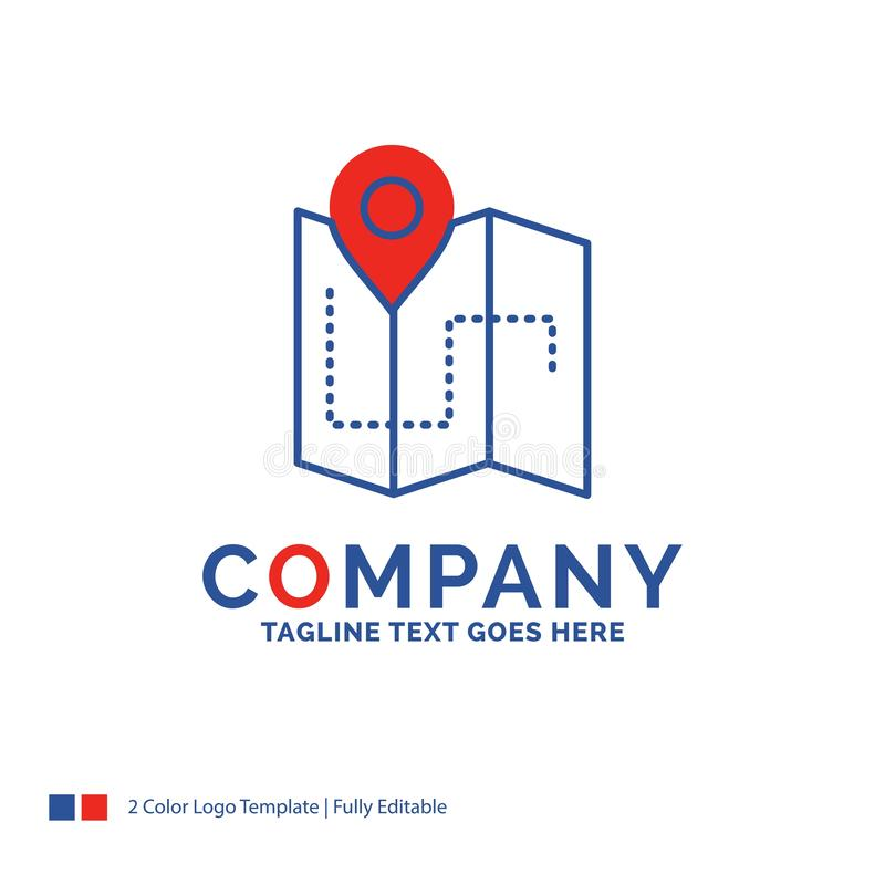 Firmanaam Logo Design For Map, het Kamperen, plan, spoor, plaats stock illustratie
