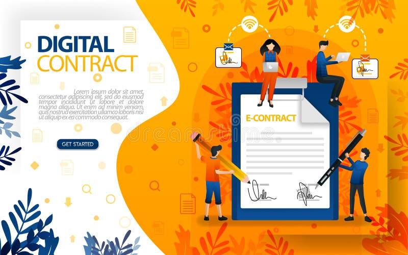 Firmas en línea para los acuerdos y los contratos gente que firmó el acuerdo y el contrato, ilustration del vector del concepto p libre illustration