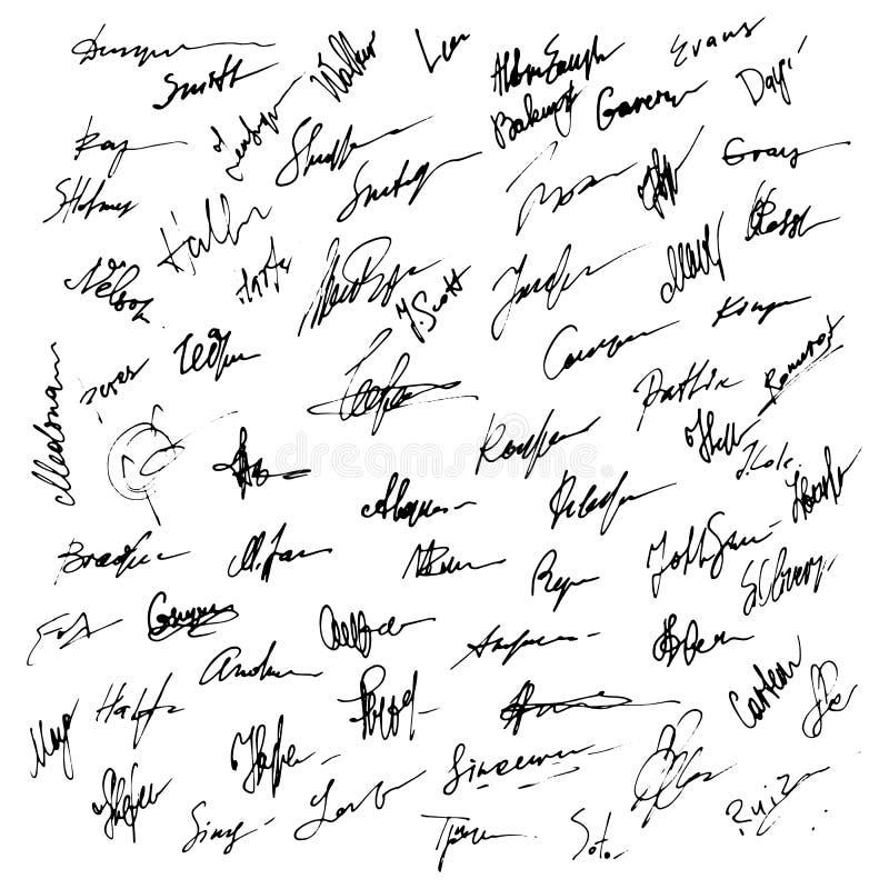 Firmas fijadas Ejemplo abstracto del autógrafo del negocio ilustración del vector