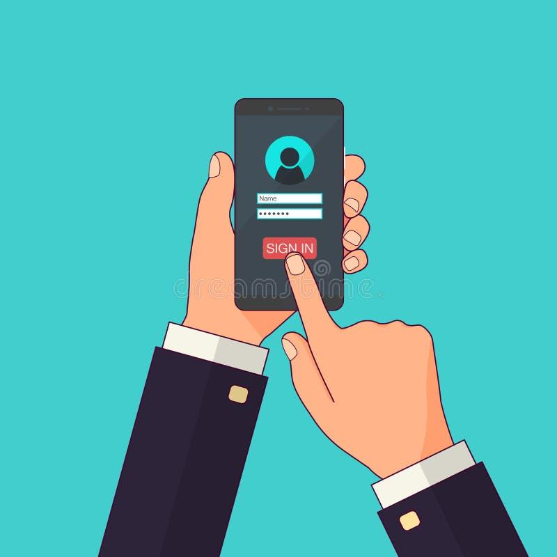Firme adentro la página en la pantalla del smartphone Dé el smartphone del control, tacto del finger firman adentro el botón Cuen ilustración del vector