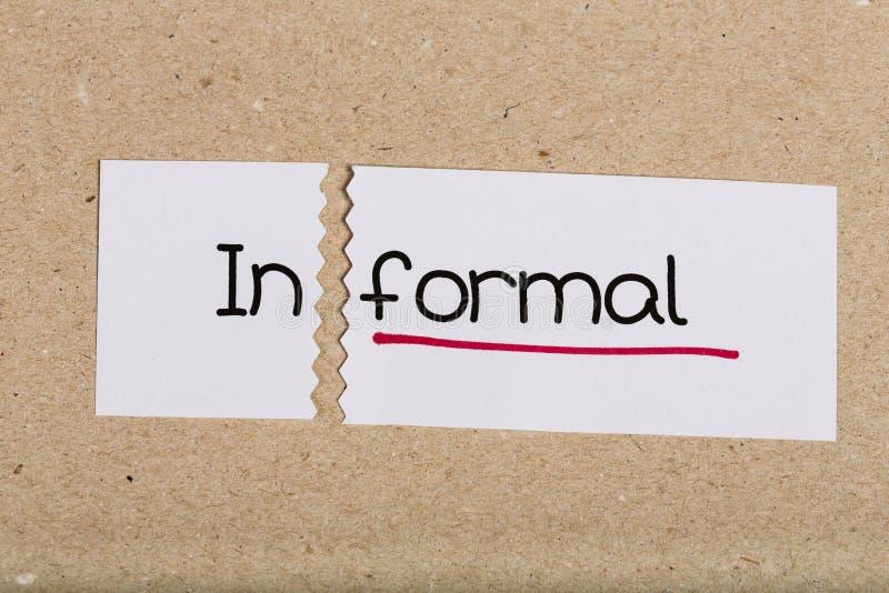 Firme con informal de la palabra dado vuelta en formal imagen de archivo