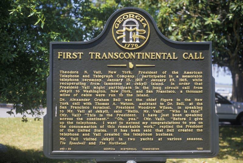 Firme conmemorar la primera llamada de teléfono transcontinental en la isla de Jekyll, GA imagen de archivo libre de regalías