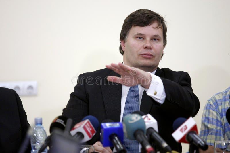 Firme di franchigia di Jeffrey, capo di missione di FMI (fondo monetario internazionale) per la Romania fotografia stock