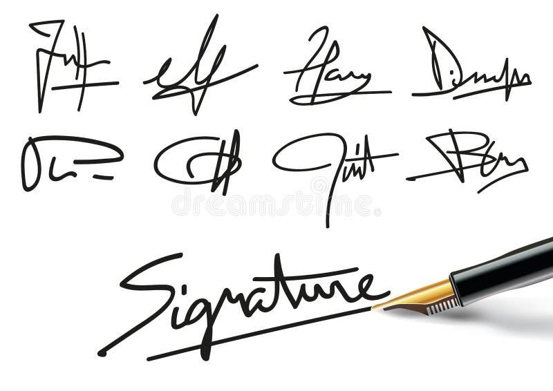 Firme differenti per illustrare i contratti professionali o i documenti amministrativi illustrazione di stock