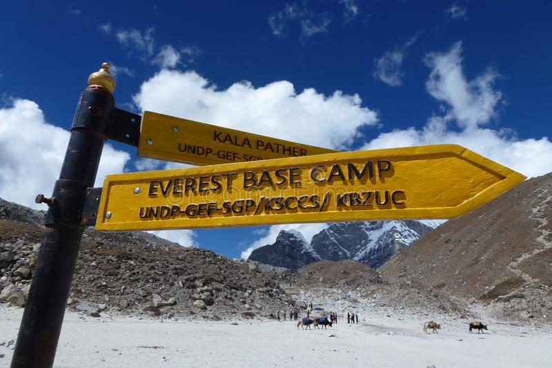 Firme a EBC, Gorak Shep, viaje del campo bajo de Everest, Nepal imagen de archivo