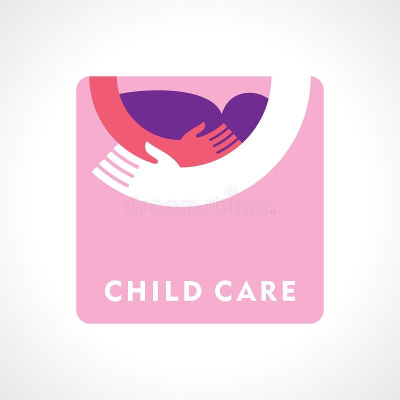 Firme el cuidado de una madre El símbolo del amor parental stock de ilustración
