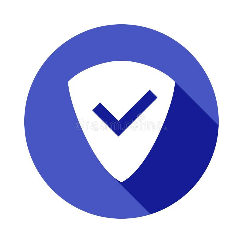 firme el escudo con un icono de la señal en estilo largo plano de la sombra stock de ilustración