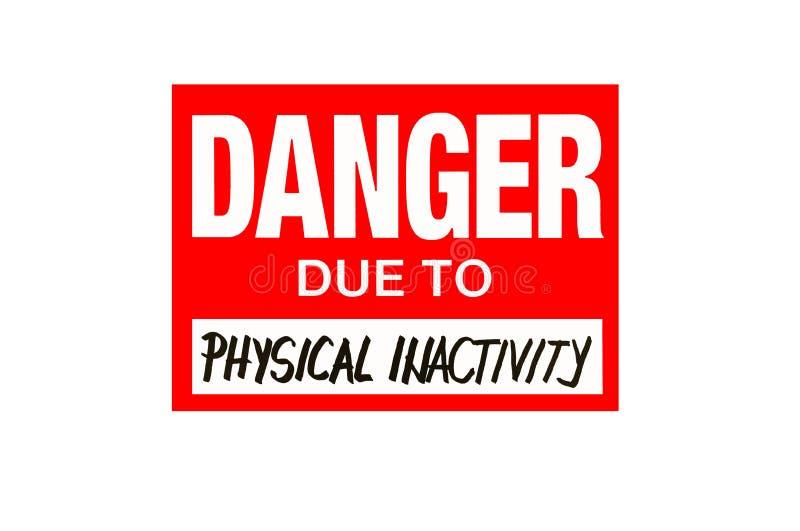 Firme el peligro debido a la inactividad física aislada en blanco imagen de archivo libre de regalías