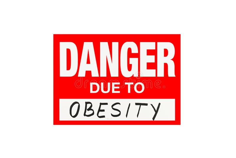 Firme el peligro debido a la obesidad aislada en blanco foto de archivo