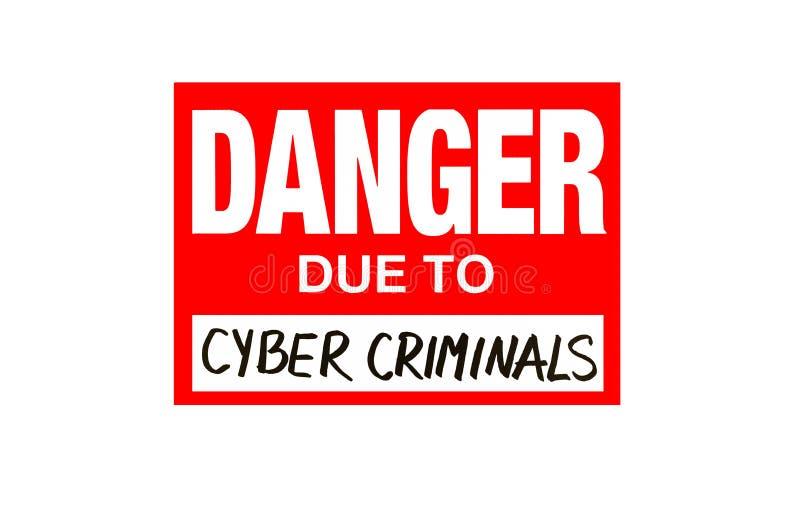 Firme el peligro debido a los criminales cibernéticos aislados en el blanco aislado fotografía de archivo libre de regalías