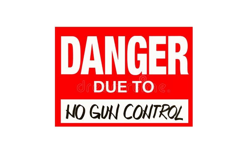 Firme el peligro debido a ningún control de armas aislado en blanco fotografía de archivo