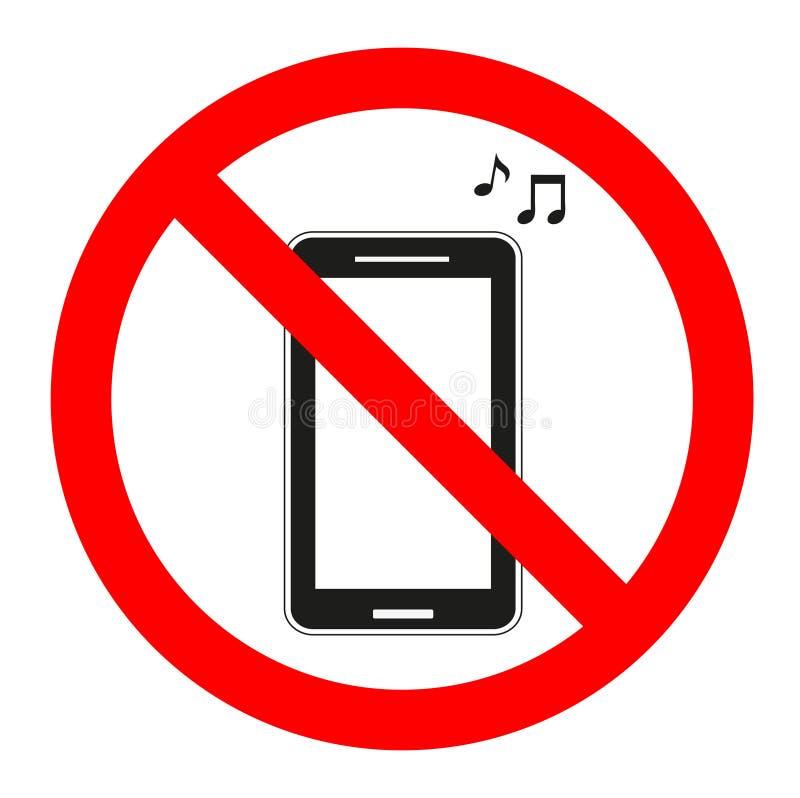 Firme la música prohibida en el teléfono en un fondo blanco stock de ilustración