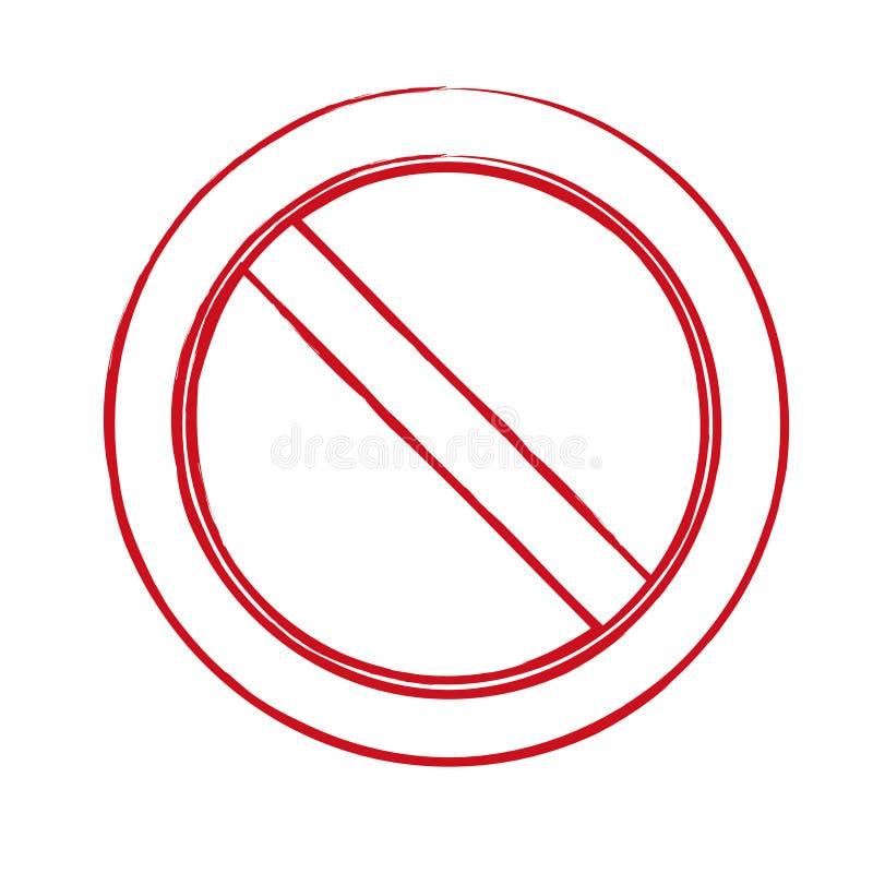 Firme la prohibición, prohibición, ninguna muestra, ningún símbolo, no permitido aislado en el fondo blanco Vector ilustración del vector