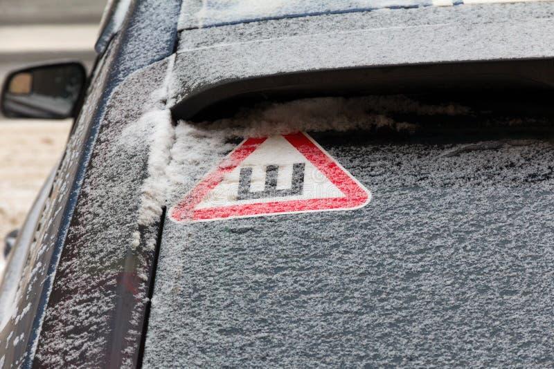 Firme las espinas en la ventana posterior nevada del coche imágenes de archivo libres de regalías