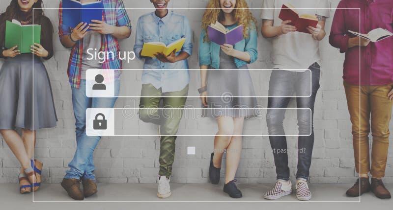 Firme para arriba el concepto de la seguridad de la red del acceso de la calidad de miembro del inicio de sesión imagen de archivo