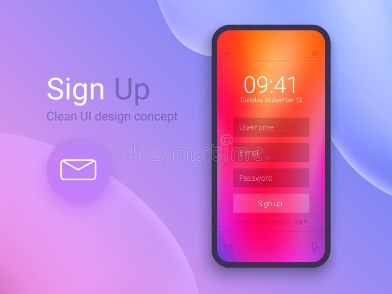 Firme para arriba la pantalla Limpie el concepto de diseño móvil de UI Uso con la ventana del boletín de inscripción Pendientes o ilustración del vector