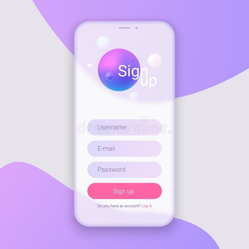 Firme para arriba la pantalla Limpie el concepto de diseño móvil de UI Uso con la ventana del boletín de inscripción Pendientes o libre illustration