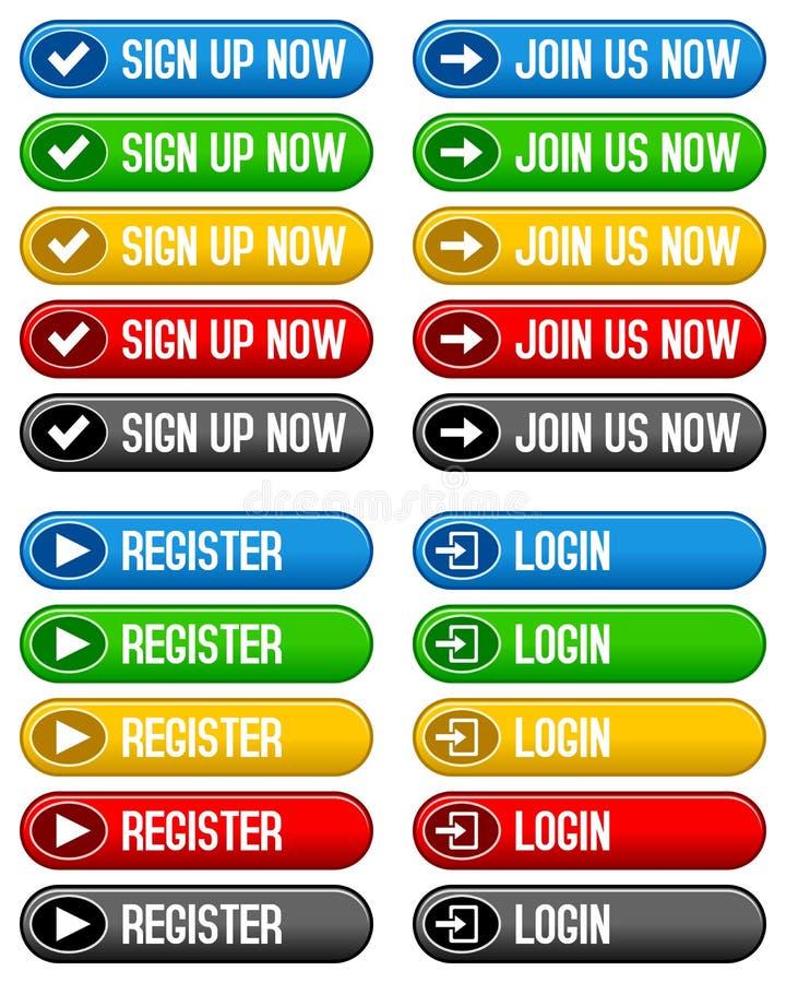 Firme para arriba los botones de la clave del registro ilustración del vector