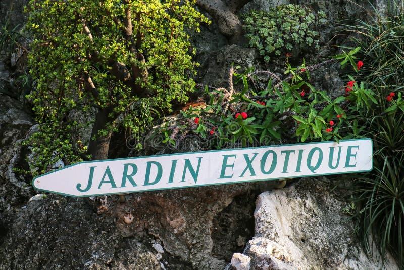 Firme para el jardín botánico en la sala de Les Revories de Mónaco fotografía de archivo libre de regalías