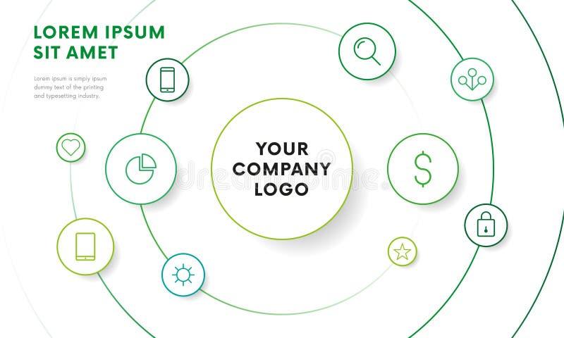 Firmen-infographic Überblick-Designschablone mit Ikonen Kreisdesign Vektor lizenzfreie abbildung