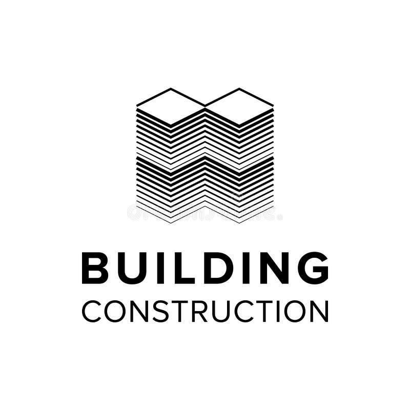 Firmengebäude-Logoschablone stock abbildung