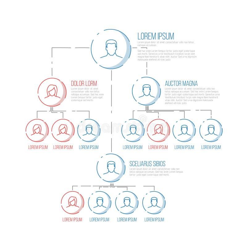 Firmenhierarchie-Diagrammschablone stock abbildung