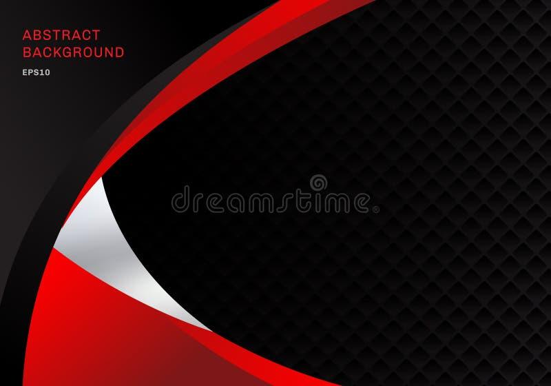 Firmenkundengeschäft des roten und schwarzen Kontrastes der Schablonenzusammenfassung kurvt Hintergrund mit Quadratmusterbeschaff lizenzfreie abbildung