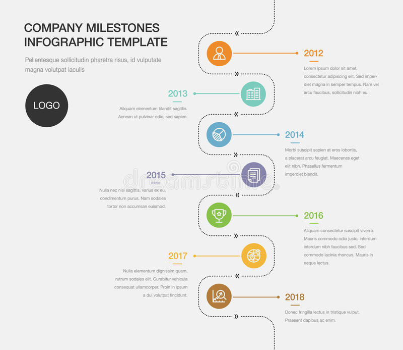 Firmenmeilenstein-Zeitachse-Schablone stock abbildung