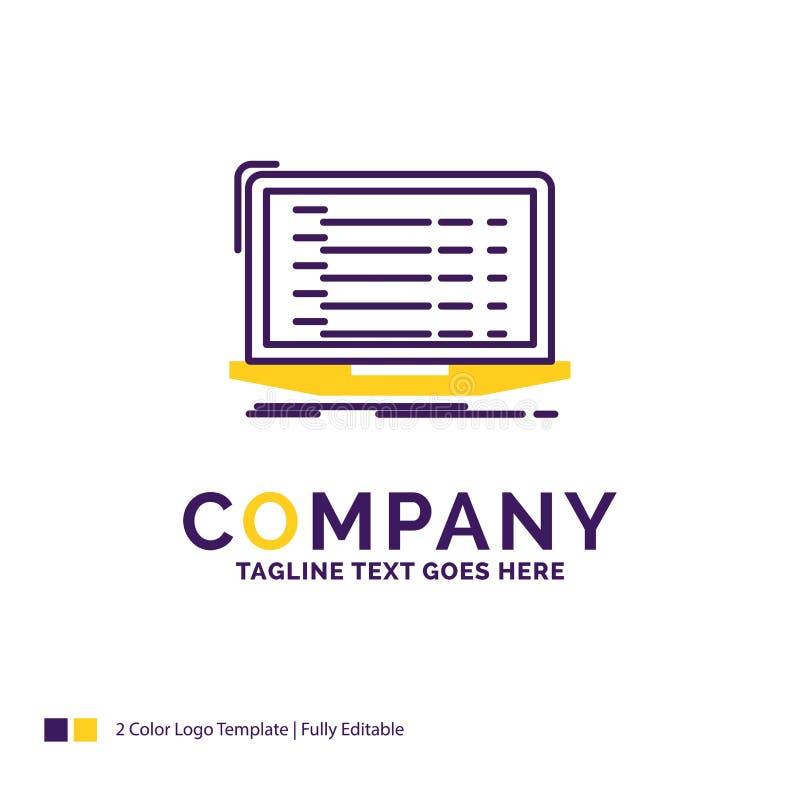 Firmennamen Logo Design For Api, App, Kodierung, Entwickler, Laptop lizenzfreie abbildung