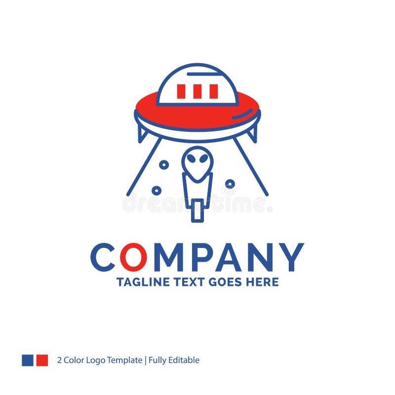 Firmennamen-Logo Design For-Ausländer, Raum, UFO, Raumschiff, beschädigt vektor abbildung