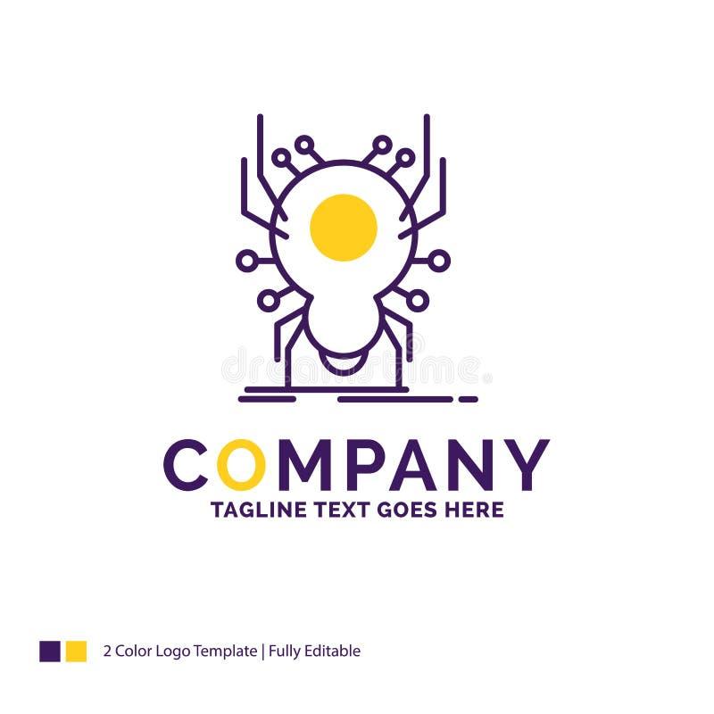 Firmennamen Logo Design For Bug, Insekt, Spinne, Virus, App r vektor abbildung
