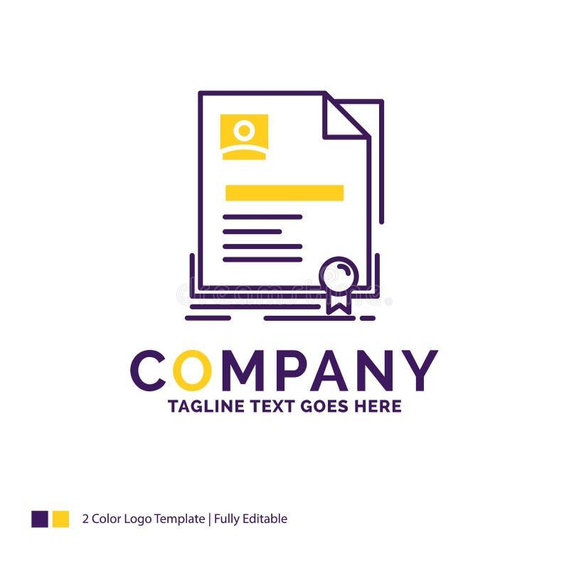 Firmennamen Logo Design For Contract, Ausweis, Geschäft, agreemen vektor abbildung