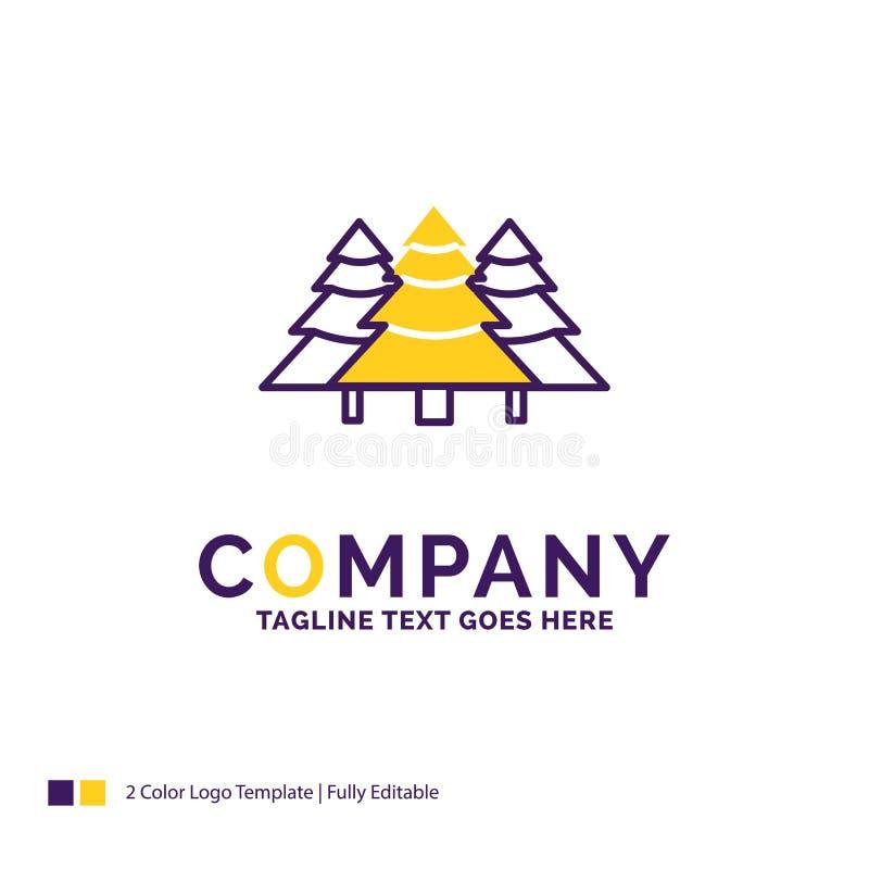 Firmennamen-Logo Design For-Wald, kampierend, Dschungel, Baum, Kiefer stock abbildung