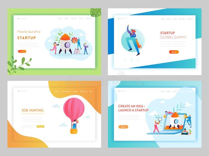Firmenneugründungs-kreative Ideen-Landungsseiten-Schablone Arbeitsuche-Einstellungs-Konzept mit den Charakteren, die an Idee arbe vektor abbildung