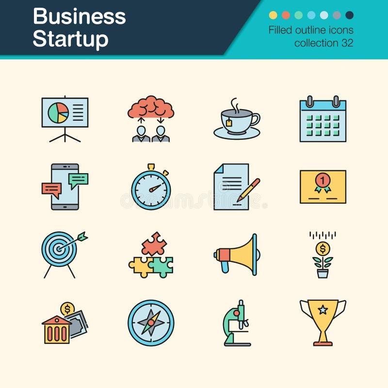 Firmenneugründungsikonen Gefüllte Entwurfsdesignsammlung 32 für lizenzfreie abbildung