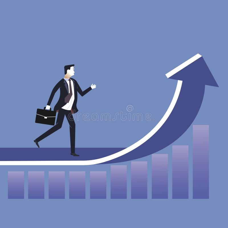 Firmenneugründungskonzept, Geschäftsmannweg oben auf Pfeiltreppenhaus zum Erfolg, Ziel, Karriere, Leadship, Vektor gehen stockbild