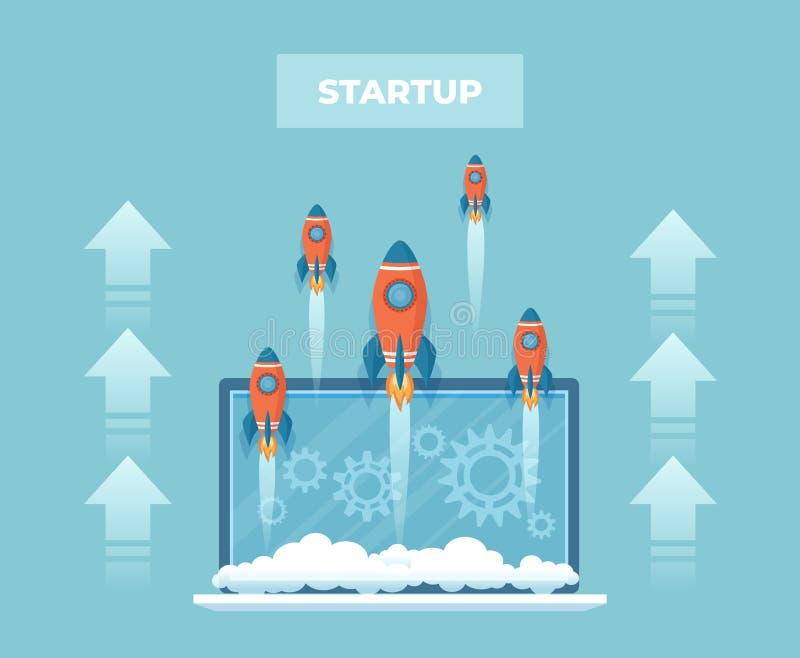 Firmenneugründungskonzept Viele Raketen fahren vom Laptopschirm ab Durchführung und Erfolg einer innovativen Idee Vektor illu lizenzfreie abbildung