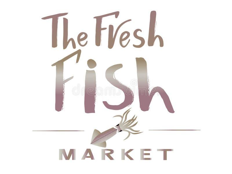 Firmenzeichen die neue rote Farbe des Fischmarktes mit Illustration des Kalmars der violetten Farbe vektor abbildung