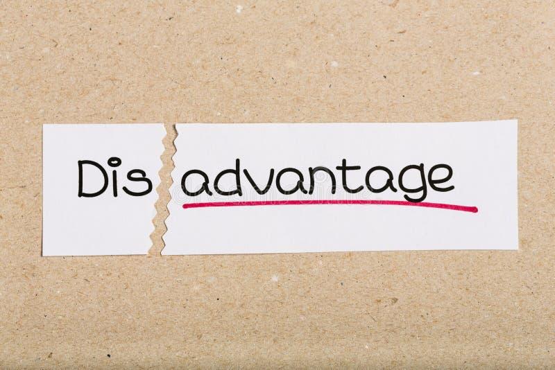 Firmi con lo svantaggio di parola trasformato in vantaggio immagini stock